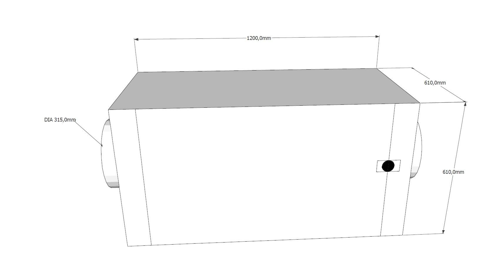 Kolfilterskåp, 610x610x850